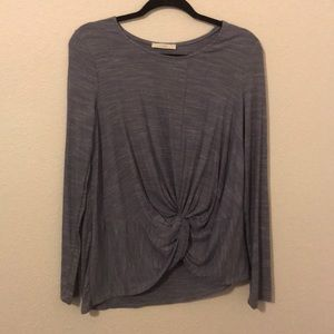 Lush periwinkle front knot long sleeve top